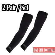 2 Pairs of Black Cooling Arm Sleeves - Athletic Sport Skins - Sun Protective UV Cover