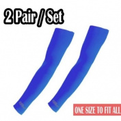 2 Pairs of Blue NEW Protective Arm Sleeve Arm warmers UV sunblock