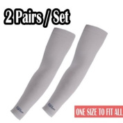 2 Pairs, Grey Cooling Arm Sleeves Athletic Sport Skins - Sun Protective UV Cover Fishing