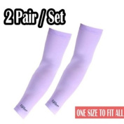 2 Pairs, Purple Arm Sleeves covers compression Guard warmers band cool Sports