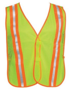 Liberty HiVizGard Polyester Mesh General Purpose Vest with 5.1cm Wide Stripes, Fluorescent Lime Green
