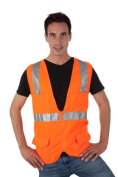 Liberty HiVizGard Polyester Mesh Class 2 Surveyors Vest with 5.1cm Wide Silver Reflective Stripes and Multiple Pockets, Small, Fluorescent Orange