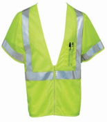 Liberty HiVizGard Polyester All Mesh Fabric Class 3 Safety Vest with 5.1cm Wide Silver Reflective Stripes and Multiple Pockets, Medium, Fluorescent Lime Green