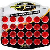 Sunlite Card of 24, 2.5cm Round Bicycle Reflectors, Red
