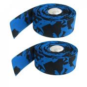 Como 2 Pcs Silver Tone Bar Plugs Blue Black Bicycles Handlebar Tape Wrap