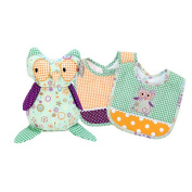 Trend Lab Jelly Bean Owl Stuffed Toy and Bib Gift Set