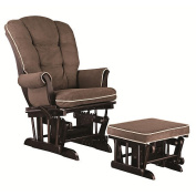 Shermag European Sleigh Glider and Ottoman - Mocha with Pearl Piping