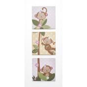 BabyShop By Design Girl Monkey 3-Piece Wall Art