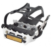 Avenir Resin/Alloy Pedals with Toe Clips and Straps, Black/Silver, 1.4cm Axle
