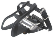 Avenir Ultralight Pedals with Toe Clips and Straps, Black/Silver, 1.4cm Axle