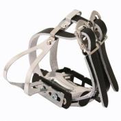 Eleven81 Dbl Stl Toeclip W/Strp Blk M/L, Med/Lge Black Leather Strap