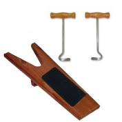 Deluxe Red Wood - Solid Wooden Boot Jack with Boot Pulls