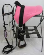 MINIATURE HORSE / SM PONY BAREBACK SADDLE SET - BRIGHT PINK - FLORAL OVERLAY