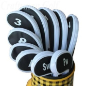 Craftsman Golf 3-SW 10 Long Neck Iron Zippered Head Covers Fit All Brands Titleist, Callaway, Ping, Taylormade, Cobra, Nike, Etc.