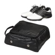 Leather Golf Shoe Bag -Black