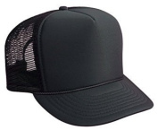 Professional Style Polyester Foam Front High Crown Golf Style Mesh Back Adjustable Hat Cap - Black