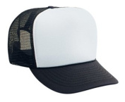 Professional Style Polyester Foam Front High Crown Golf Style Mesh Back Two Tone Adjustable Hat Cap - Black/White/Black