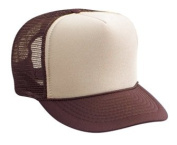 Professional Style Polyester Foam Front High Crown Golf Style Mesh Back Two Tone Adjustable Hat Cap - Brown/Tan/Brown