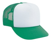 Professional Style Polyester Foam Front High Crown Golf Style Mesh Back Two Tone Adjustable Hat Cap - Kelly/White/Kelly