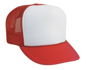 Professional Style Polyester Foam Front High Crown Golf Style Mesh Back Two Tone Adjustable Hat Cap - Red/White/Red