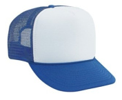 Professional Style Polyester Foam Front High Crown Golf Style Mesh Back Two Tone Adjustable Hat Cap - Royal/White/Royal