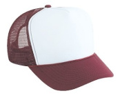 Professional Style Polyester Foam Front High Crown Golf Style Mesh Back Two Tone Adjustable Hat Cap - Maroon/White/Maroon