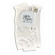 Lady Classic Cabretta 1/2 Finger Golf Glove White Small RH