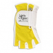 Lady Classic Cabretta 1/2 Finger Golf Glove Yellow Large RH