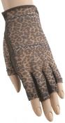 HJ Glove Women's Brown Leopard Solaire Half Length Golf Glove, Medium, Left Hand