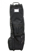 Deluxe Black Weatherproof Nylon Golf Bag Travel Cover with Wheels