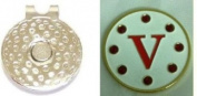 Crystal Letter White V Golf Ball Marker w/ Hat Clip