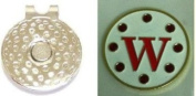 Crystal Letter White W Golf Ball Marker w/ Hat Clip