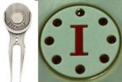 Crystal Letter White I Golf Ball Marker w/ Divot Tool