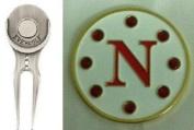 Crystal Letter White N Golf Ball Marker w/ Divot Tool