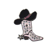 Adorable Pink Cowgirl Boot Ballmarker Accented by Genuine. Crystals with Magnetic Hat Clip