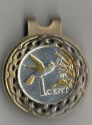 Gorgeous 2-Toned Gold & Silver Trinidad & Tobago Hummingbird Coin - Golf Ball Marker - Hat Clips