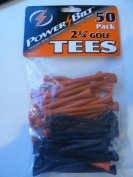 PowerBilt 7cm Golf Tees 50 pack Orange Black NEW