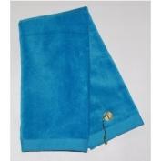 Aqua Tri-Fold Golf, Hand Towel with Grommet & Hook