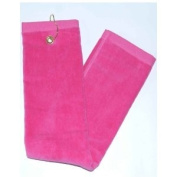 Hot Pink Tri-Fold Golf, Hand Towel with Grommet & Hook