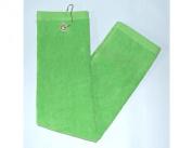 Lime Green Tri-Fold Golf, Hand Towel w/Grommet & Hook