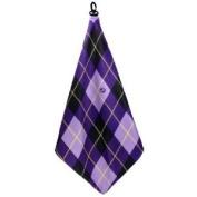 Women's Golf Accessories Gifts Microfiber Golf Towel Purple Argyle Print by BeeJo