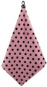 Women's Pink / Black Polka Dot Microfiber Golf Towel by BeeJo