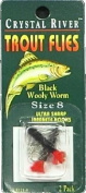 Crystal River - C/R Flys- Black Woolly Worm Size -8