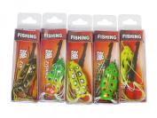 5pcs Toad Soft Plastic Hollow Fishing Lure Crankbait Hooks Bass Bait Frog 5
