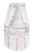Badger Basket White Elegance Round Baby Bassinet with White Waffle and Pink Bedding