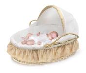 Badger Basket Natural Moses Basket with Fabric Canopy - Beige Gingham Bedding