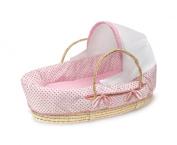 Badger Basket Natural Moses Basket with Fabric Canopy - Pink Polka Dot Bedding