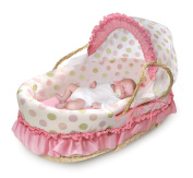 Badger Basket Company Natural Moses Basket with Fabric Canopy, Pink and Sage Dot