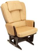 Dutailier Nursing Grand Modern Glider Chair with Built-In Feeding Pillows, Espresso/Camel