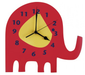Trend Lab Elephant Parade Shaped Wall Clock, Red